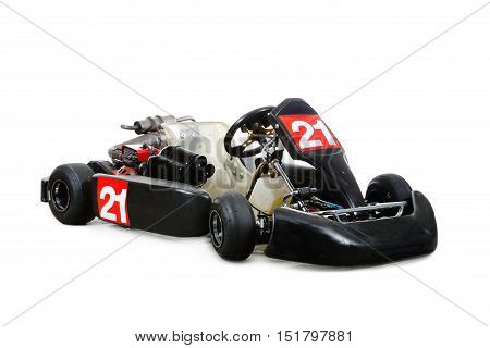 A go-kart with number 21 isolated on white.