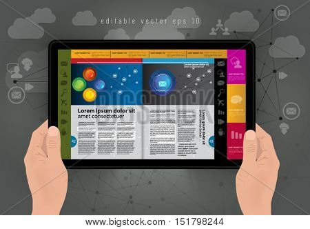 Man holding tablet with business e-book, vector