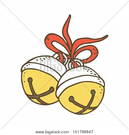 Jingle bells with bow on a white background. Vector illustration