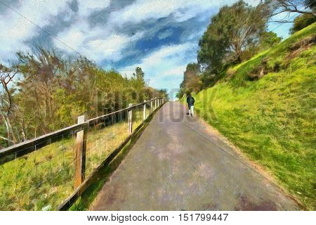 Girl walking up a road on a hill side painted in the style of Monet