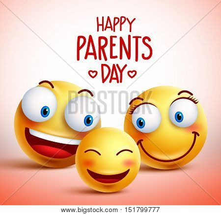 Family of smiley faces vector characters for happy parents day design concept. Vector illustration.