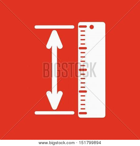 The measuring height and length icon. Ruler, straightedge, scale symbol. Flat Vector illustration