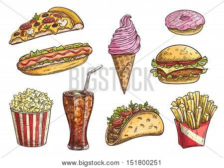 Fast food icons set. Isolated sketch snacks, drink, cheeseburger, tacos, hot dog, french fries in box, pizza slice, ice cream cone, donut, popcorn, soda drink in glass
