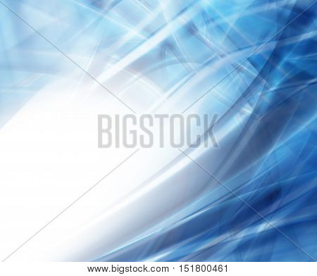 Abstract Modern Blue Waved Background On A White Background