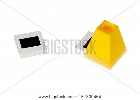 One yellow slide viewer with an inserted slide isolated on white.
