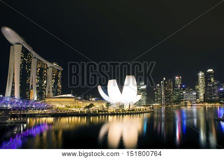 Singapore city skyline at night from viewpoint