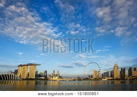 Morning Light At Singapore Skyline And View Of Marina Bay