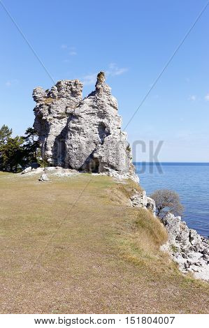 The sea stack named Jungfrun (in English Virgin) near the village Lickerhamn on Swedish Baltic island Gotland.
