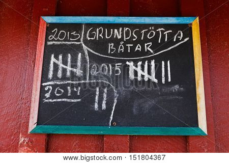Sign with text in Swedish with the listing of the number of boats run aground (Grundstotta)