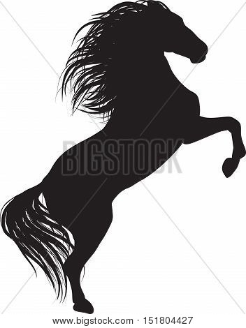 Drawing the black silhouette of running horse on a white background. Hand drawn vector stock illustration