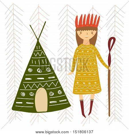 Cute hand drawn doodle card postcard with girl in ethnic clothes and tepee. Background for children with hippie lady tribal elements