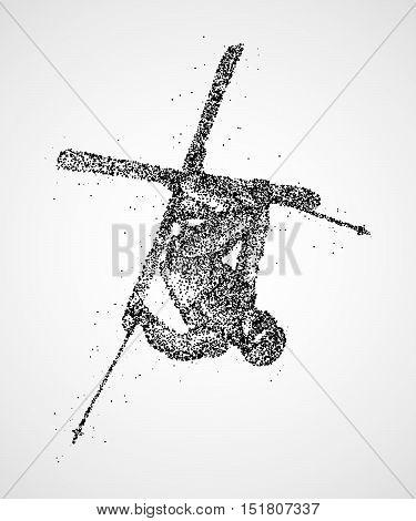 Abstract skier jumping of black circles. Photo illustration.