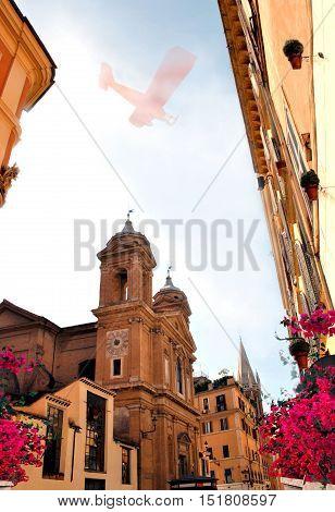 Beautiful ancient small street of italian  Rome.