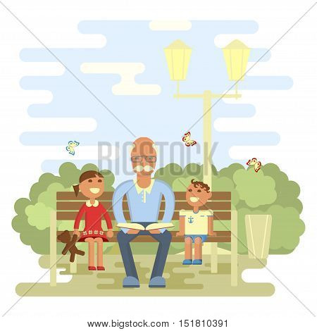 Happy family concept. Grandpa reading a book to grandsons in summer on a park bench. Boy and girl out walking with grandfather. Vector illustration eps