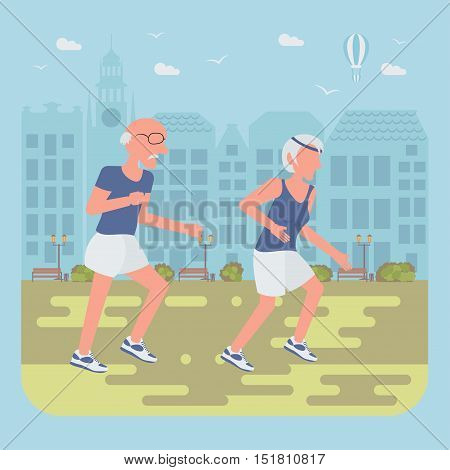 Happy people concept. Seniors jogging by the street. Flat style cartoon vector illustration with isolated characters on city background.