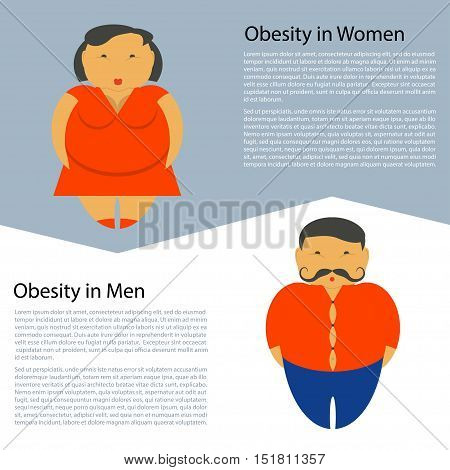 Obesity characters template overweight people, fat man, woman. Diet and lifestyle data visualization concept poster. Vector illustration eps10