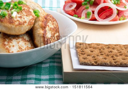 Chicken Cutlets, Salad Of Fresh Tomatoes And Rye Biscuit