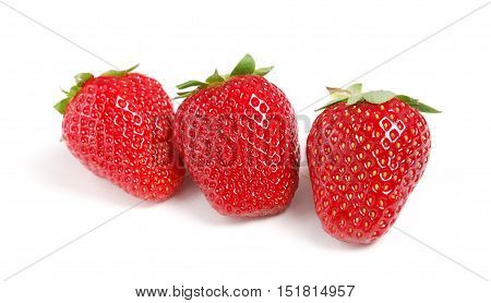 fresh red strawberries isolated on white background