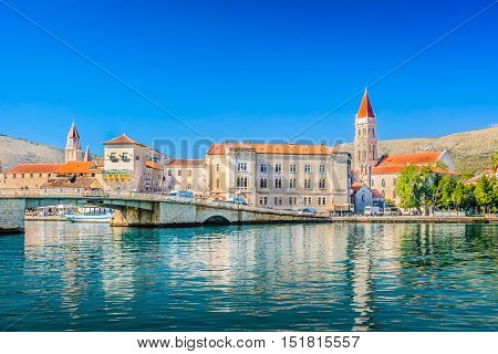 Waterfront view at marble architecture in old town Trogir on Adriatic Sea, Croatia Europe.