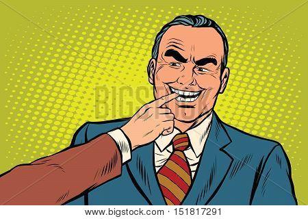 Boss bites the finger, pop art retro vector illustration