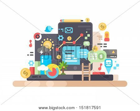 Widgets for tablet or phone. Financial applications, games and weather. Vector illustration
