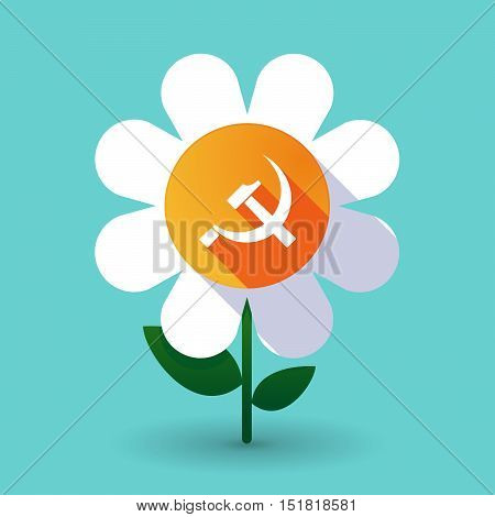 Long Shadow Daisy Flower With  The Communist Symbol