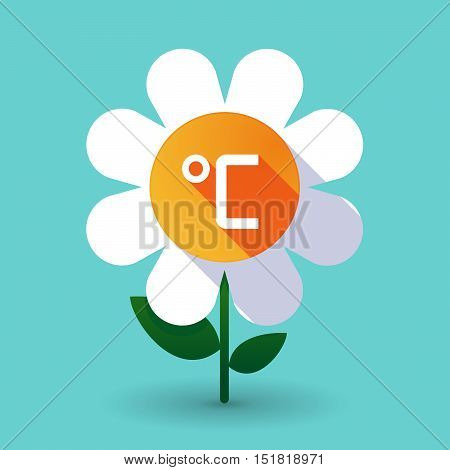 Long Shadow Daisy Flower With  A Celsius Degree Sign