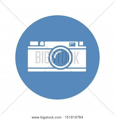 White rangefinder camera icon placed on blue
