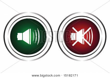 Two buttons with a sound sign