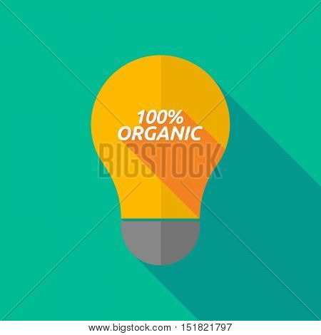 Long Shadow Light Bulb Icon With    The Text 100% Organic
