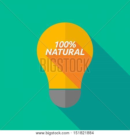 Long Shadow Light Bulb Icon With    The Text 100% Natural