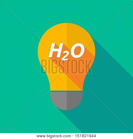 Long Shadow Light Bulb Icon With    The Text H2O