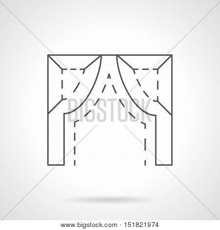Abstract symbol of inflexed arch. Architectural decorative element for doorway, window, gateway and others. Black flat line vector icon.