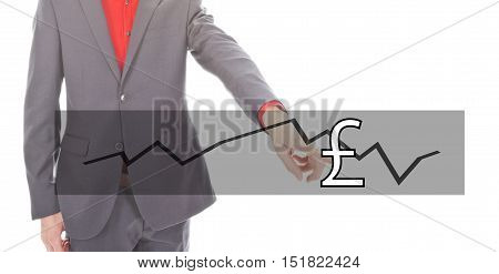 Young businessman with British pound currency isolated