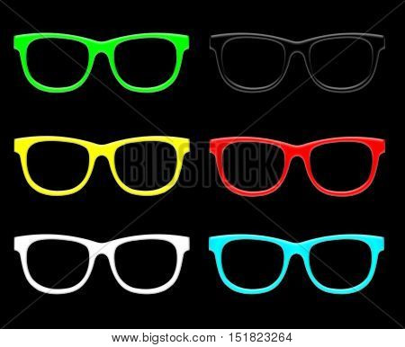 Glasses set. Raster illustration of plastic colorful sunglasses isolated on black.