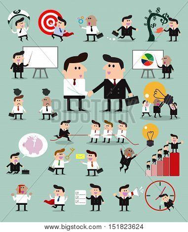 Set of businessman character, Group cartoon businessman, set of businessman activities, Vector Illustration.
