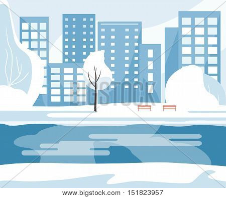 Winter public park with trees, river, benches and city buildings in the background. Vector illustration flat design