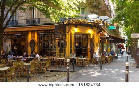 Paris France-July 09 2016: The traditionnal French cafe Le Cepage Montmartrois located in pittoresque Montmartre district of Paris.