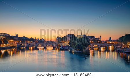 Paris Panorama. Panoramic image of Paris riverside during sunrise.
