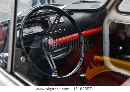 Steering Wheel Of A Vintage Fiat Car