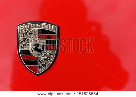 Red Porsche Vintage Car Sign From Stuttgart