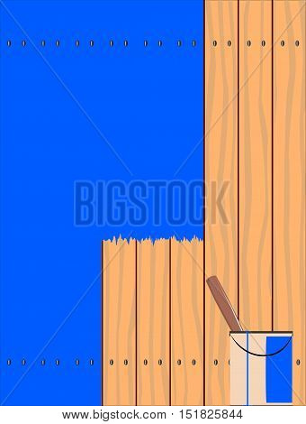 A fence made of softwood planks showing the wood grain and being painted blue