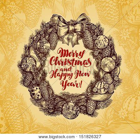 Xmas wreath vintage. Merry Christmas, Happy New Year. Vector illustration