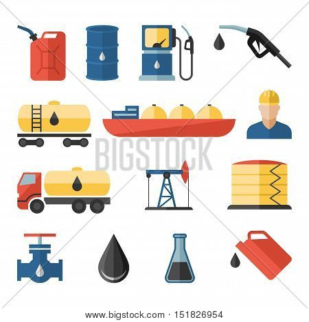 Oil and petroleum vector flat icon set