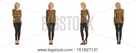 Full Length Portrait Of Beautiful Blonde In Khaki Blouse