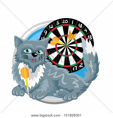 Sagittarius. Horoscope sign in circle isolated. Cat. Zodiac