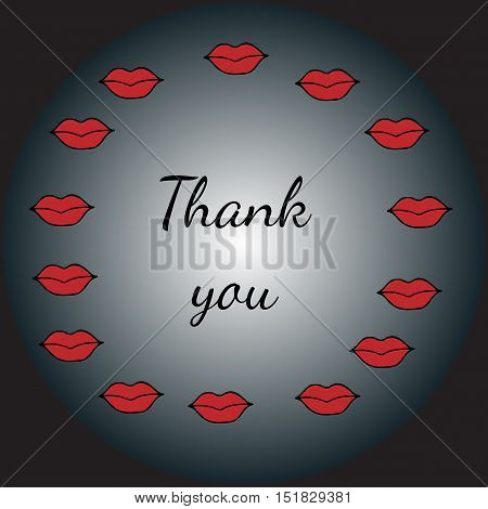 Round scope from red lips with a Thank you inscription. Design element for greeting card party holidays icon logo border book or page design child magazine banner template.