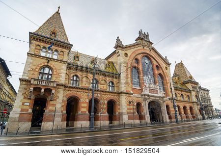 Facade Of The Great Market Hall In Budapest, Hungary.