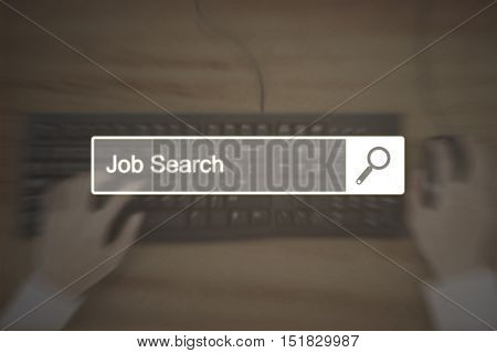 Search bar with text of job search and businessman hand working with a keyboard. Concept of job search opportunity