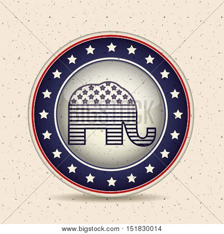 Elephant inside button icon. Vote election and government theme. Isolated design. Vector illustration